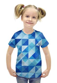 """Футболка с полной запечаткой для девочек """"Геометрические фигуры"""" - арт, абстракция, треугольники, квадраты"""