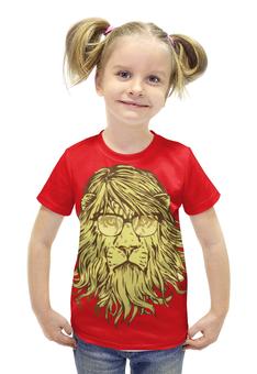 """Футболка с полной запечаткой для девочек """"Пафосный Лев"""" - лев, lion, в очках, пафосный лев"""