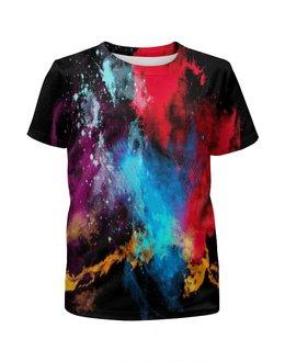 """Футболка с полной запечаткой для девочек """"Взрыв красок"""" - краска, яркие краски, взрыв красок, абстракция красок, пятна красок"""