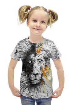 """Футболка с полной запечаткой для девочек """"the Lion"""" - животные, лев, lion, animals"""