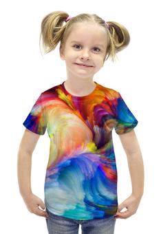 """Футболка с полной запечаткой для девочек """"КАРНАВАЛ"""" - арт, радуга, краски, абстракция"""