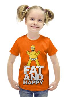"""Футболка с полной запечаткой для девочек """"Гомер Симпсон. Толстый и счастливый"""" - simpsons, прикольные, гомер симпсон, симпспоны, толстый и счастливый"""