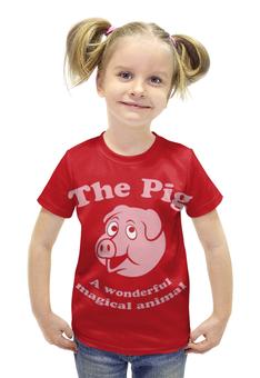 """Футболка с полной запечаткой для девочек """"The Pig"""" - свинка"""