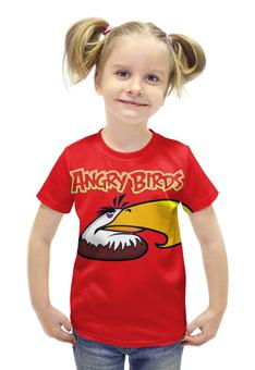 """Футболка с полной запечаткой для девочек """"Angry birds """" - птичка"""