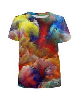 """Футболка с полной запечаткой для девочек """"color explosion"""" - colors, настроение, sky, краски, background"""