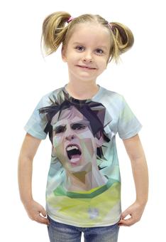 """Футболка с полной запечаткой для девочек """"Футбольная мозайка Кака"""" - футбол, арт, бразилия, кака"""