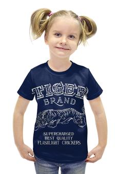 """Футболка с полной запечаткой для девочек """"Tiger brand"""" - тигр"""