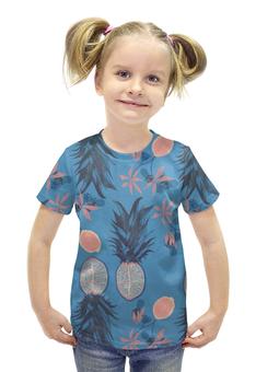 """Футболка с полной запечаткой для девочек """"Тропические фрукты"""" - арт, фрукты, винтаж, тропики, тропические фрукты"""