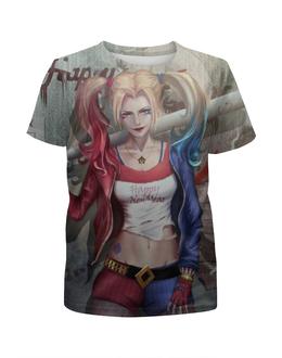 """Футболка с полной запечаткой для девочек """"Харли Квинн / Harley Quinn"""" - комикс, рисунок, кино, харли квинн"""