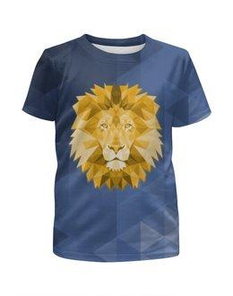 """Футболка с полной запечаткой для девочек """"Полигональный Лев"""" - лев, синий, полигоны"""