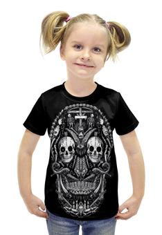 """Футболка с полной запечаткой для девочек """"Skull Art"""" - skull, череп, skeleton, скелет, арт дизайн"""