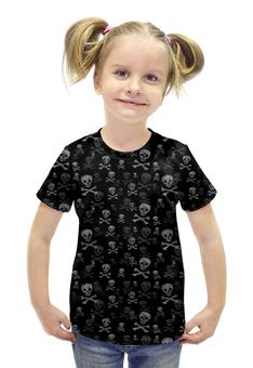 """Футболка с полной запечаткой для девочек """"Кости"""" - череп, кости"""