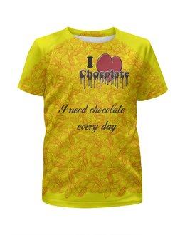"""Футболка с полной запечаткой для девочек """"«...единственный недостаток»"""" - сердце, английский, шоколад, chocolate, недостаток"""