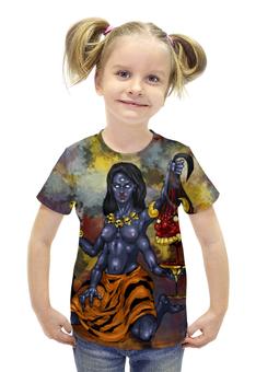 """Футболка с полной запечаткой для девочек """"Кали- Богиня разрушения"""" - арт, авторские майки, индуизм, мифология"""