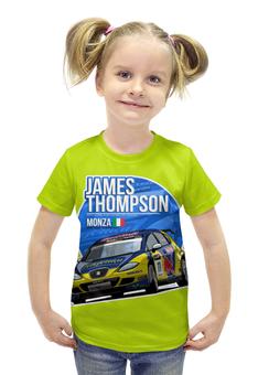 """Футболка с полной запечаткой для девочек """"James Thompson """" - гонки, ралли"""
