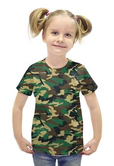 """Футболка с полной запечаткой для девочек """"Woodland Style"""" - style, армия, army, камуфляж, camo"""