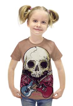 """Футболка с полной запечаткой для девочек """"Rock in Rio - фестиваль рок музыки"""" - skull, череп, heavy metal, рок музыка, хеви метал"""