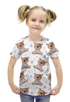 """Футболка с полной запечаткой для девочек """"Cute Teddy"""" - мишка, тедди, teddy, мишка тедди"""