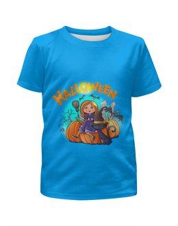"""Футболка с полной запечаткой для девочек """"Хэллоуин"""" - кошка, ведьма, хэллоуин, тыква"""