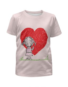 """Футболка с полной запечаткой для девочек """"Рисует сердце"""" - трава, девочка, loves, день святого валентина, любовь"""