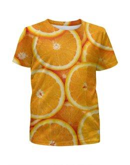 """Футболка с полной запечаткой для девочек """"Апельсины"""" - дизайн, абстракция, апельсины"""