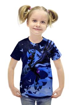 """Футболка с полной запечаткой для девочек """"my little pony"""" - арт, крылья, my little pony, пони, луна"""