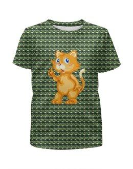 """Футболка с полной запечаткой для девочек """"Рыжий кот"""" - кот, котёнок, животные, современный камуфляж, кошка"""