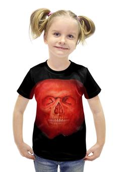 """Футболка с полной запечаткой для девочек """"Skull Art"""" - skull, череп, apple, яблоко, арт дизайн"""