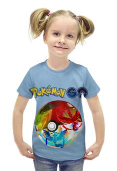 """Футболка с полной запечаткой для девочек """"Pokemon Go"""" - покемоны, покебол"""