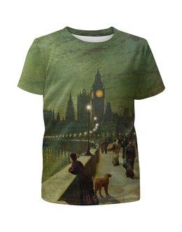 """Футболка с полной запечаткой для девочек """"Вечерний Лондон"""" - арт, страны, города, лондон, англия"""