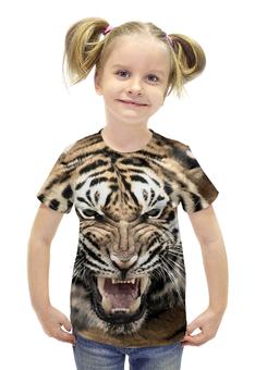 """Футболка с полной запечаткой для девочек """"уссурийский тигр 2"""" - tiger, тигр, уссурийские тигры"""