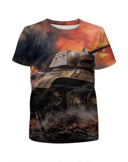 """Футболка с полной запечаткой для девочек """"Русский танк непобедим"""" - арт, россия, танки, великая отчественная война"""