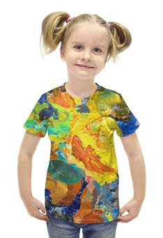"""Футболка с полной запечаткой для девочек """"""""Краска на палитре"""""""" - желтый, искусство, разноцветный, художник, пестрый"""