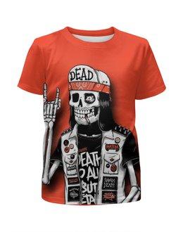 """Футболка с полной запечаткой для девочек """"Bones Brigade"""" - skull, череп, skeleton, скелет, bones brigade"""