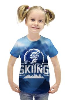"""Футболка с полной запечаткой для девочек """"Skiing"""" - спортсмен, горы, активный отдых, skiing, лыжник"""