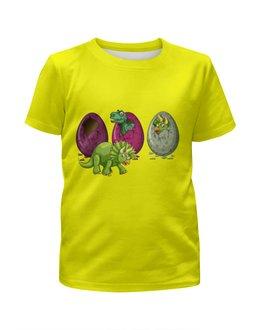 """Футболка с полной запечаткой для девочек """"Динозавры"""" - динозавры, динозавр, животное, яйца динозавра"""