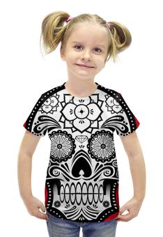 """Футболка с полной запечаткой для девочек """"Santa Muerte skull"""" - skull, череп, мексика, mexico, санта муерте"""