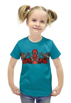 """Футболка с полной запечаткой для девочек """"Deadpool"""" - комиксы, супергерои, дедпул, пистолеты"""