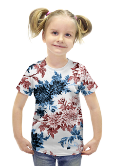 """Футболка с полной запечаткой для девочек """"Хризантемы"""" - красиво, цветы, хризантемы"""