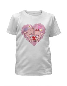 """Футболка с полной запечаткой для девочек """"Розовые котята в седце."""" - детский, кошка, сердце, дружба, любовь"""