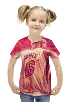 """Футболка с полной запечаткой для девочек """"Леброн Джеймс (Кливленд Кавальерс)"""" - nba, нба, lebron james, леброн джеймс"""