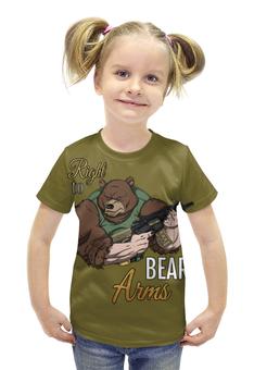 """Футболка с полной запечаткой для девочек """"Bear Arms"""" - животные, bear, армия, медведь, army"""