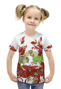 """Футболка с полной запечаткой для девочек """"петушиное разноцветие"""" - узор, символ года, абстрактный, петух, петухи"""