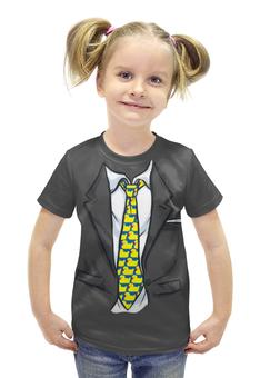 """Футболка с полной запечаткой для девочек """"Модный пиджак """" - галстук, костюм"""