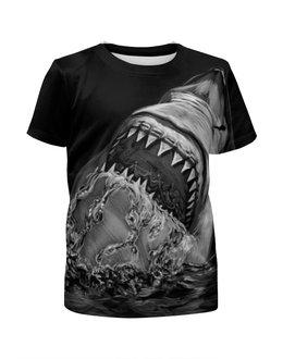 """Футболка с полной запечаткой для девочек """"Акула"""" - рыба, акула, shark"""