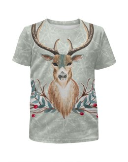 """Футболка с полной запечаткой для девочек """"Deer (олень)"""" - лес, олень, рога, deer, merry christmas"""