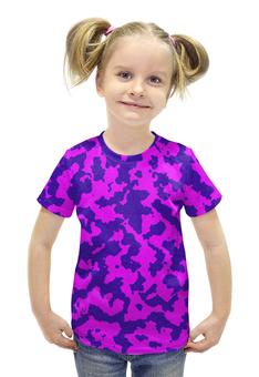 """Футболка с полной запечаткой для девочек """"Розово-Синий Камуфляж"""" - армия, камуфляж, camouflage, военный, розово синий камуфляж"""