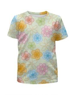 """Футболка с полной запечаткой для девочек """"Лютики-цветочки"""" - цветы, цвета, графика, пастель"""