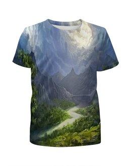 """Футболка с полной запечаткой для девочек """"Пейзаж красками"""" - природа, лес, река, пейзаж, горы"""
