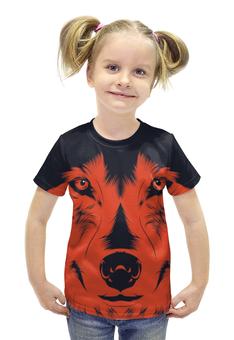 """Футболка с полной запечаткой для девочек """"Волк Красный"""" - рисунок, волк, wolf, red wolf"""